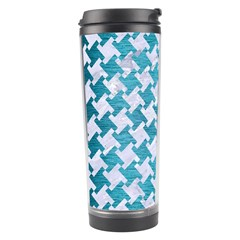 Houndstooth2 White Marble & Teal Brushed Metal Travel Tumbler by trendistuff