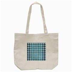 Houndstooth1 White Marble & Teal Brushed Metal Tote Bag (cream) by trendistuff