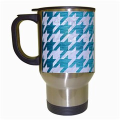 Houndstooth1 White Marble & Teal Brushed Metal Travel Mugs (white) by trendistuff