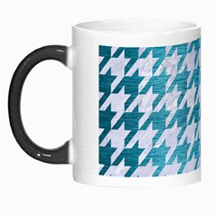Houndstooth1 White Marble & Teal Brushed Metal Morph Mugs by trendistuff