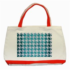 Houndstooth1 White Marble & Teal Brushed Metal Classic Tote Bag (red) by trendistuff