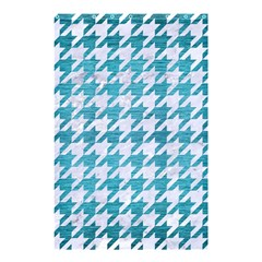 Houndstooth1 White Marble & Teal Brushed Metal Shower Curtain 48  X 72  (small)  by trendistuff