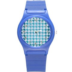 Houndstooth1 White Marble & Teal Brushed Metal Round Plastic Sport Watch (s) by trendistuff