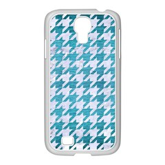 Houndstooth1 White Marble & Teal Brushed Metal Samsung Galaxy S4 I9500/ I9505 Case (white) by trendistuff