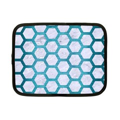 Hexagon2 White Marble & Teal Brushed Metal (r) Netbook Case (small)  by trendistuff