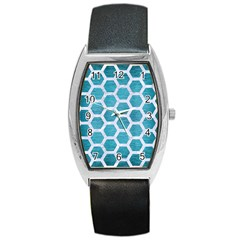 Hexagon2 White Marble & Teal Brushed Metal Barrel Style Metal Watch by trendistuff