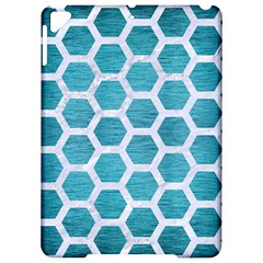 Hexagon2 White Marble & Teal Brushed Metal Apple Ipad Pro 9 7   Hardshell Case by trendistuff