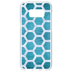 Hexagon2 White Marble & Teal Brushed Metal Samsung Galaxy S8 White Seamless Case by trendistuff