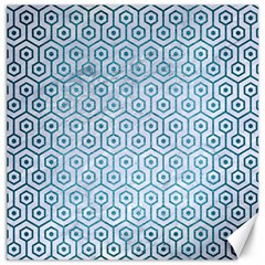 Hexagon1 White Marble & Teal Brushed Metal (r) Canvas 20  X 20   by trendistuff
