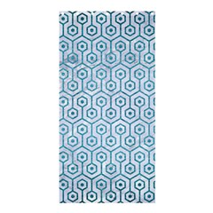 Hexagon1 White Marble & Teal Brushed Metal (r) Shower Curtain 36  X 72  (stall)  by trendistuff