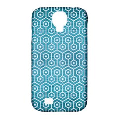 Hexagon1 White Marble & Teal Brushed Metal Samsung Galaxy S4 Classic Hardshell Case (pc+silicone) by trendistuff