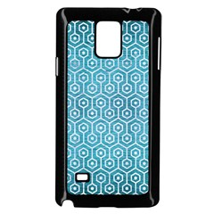 Hexagon1 White Marble & Teal Brushed Metal Samsung Galaxy Note 4 Case (black) by trendistuff