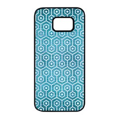 Hexagon1 White Marble & Teal Brushed Metal Samsung Galaxy S7 Edge Black Seamless Case by trendistuff