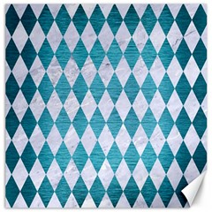 Diamond1 White Marble & Teal Brushed Metal Canvas 16  X 16   by trendistuff
