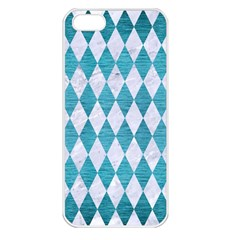 Diamond1 White Marble & Teal Brushed Metal Apple Iphone 5 Seamless Case (white) by trendistuff