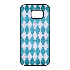 Diamond1 White Marble & Teal Brushed Metal Samsung Galaxy S7 Edge Black Seamless Case by trendistuff
