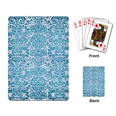 Damask2 White Marble & Teal Brushed Metal (r) Playing Card by trendistuff