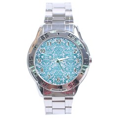 Damask2 White Marble & Teal Brushed Metal (r) Stainless Steel Analogue Watch by trendistuff