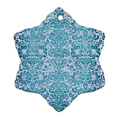 Damask2 White Marble & Teal Brushed Metal (r) Snowflake Ornament (two Sides) by trendistuff