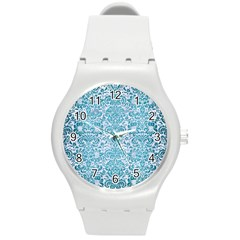 Damask2 White Marble & Teal Brushed Metal (r) Round Plastic Sport Watch (m) by trendistuff