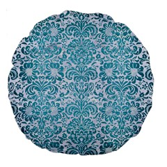 Damask2 White Marble & Teal Brushed Metal (r) Large 18  Premium Round Cushions by trendistuff
