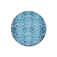 Damask2 White Marble & Teal Brushed Metal Rubber Coaster (round)  by trendistuff