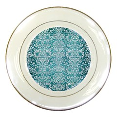 Damask2 White Marble & Teal Brushed Metal Porcelain Plates by trendistuff
