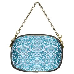 Damask2 White Marble & Teal Brushed Metal Chain Purses (two Sides)  by trendistuff
