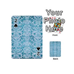 Damask2 White Marble & Teal Brushed Metal Playing Cards 54 (mini)  by trendistuff