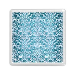 Damask2 White Marble & Teal Brushed Metal Memory Card Reader (square)  by trendistuff