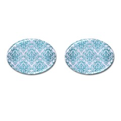 Damask1 White Marble & Teal Brushed Metal (r) Cufflinks (oval) by trendistuff