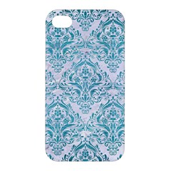 Damask1 White Marble & Teal Brushed Metal (r) Apple Iphone 4/4s Hardshell Case by trendistuff