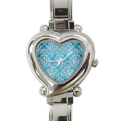 Damask1 White Marble & Teal Brushed Metal Heart Italian Charm Watch by trendistuff