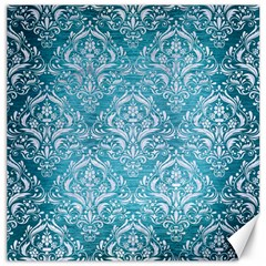 Damask1 White Marble & Teal Brushed Metal Canvas 12  X 12   by trendistuff