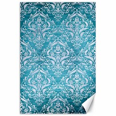 Damask1 White Marble & Teal Brushed Metal Canvas 20  X 30   by trendistuff