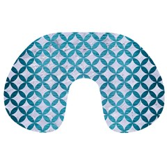 Circles3 White Marble & Teal Brushed Metal (r) Travel Neck Pillows by trendistuff
