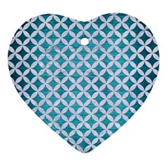 Circles3 White Marble & Teal Brushed Metal Ornament (heart) by trendistuff