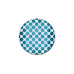Circles2 White Marble & Teal Brushed Metal (r) Golf Ball Marker by trendistuff