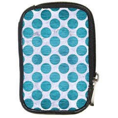 Circles2 White Marble & Teal Brushed Metal (r) Compact Camera Cases by trendistuff