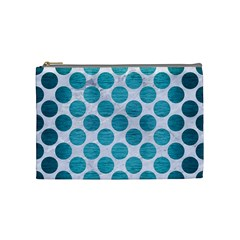 Circles2 White Marble & Teal Brushed Metal (r) Cosmetic Bag (medium)  by trendistuff