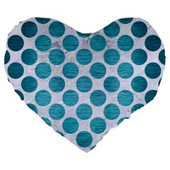 Circles2 White Marble & Teal Brushed Metal (r) Large 19  Premium Heart Shape Cushions by trendistuff