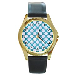 Circles2 White Marble & Teal Brushed Metal Round Gold Metal Watch by trendistuff