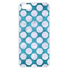 Circles2 White Marble & Teal Brushed Metal Apple Iphone 5 Seamless Case (white) by trendistuff