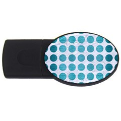 Circles1 White Marble & Teal Brushed Metal (r) Usb Flash Drive Oval (4 Gb) by trendistuff