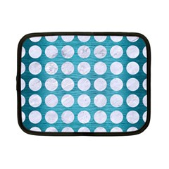 Circles1 White Marble & Teal Brushed Metal Netbook Case (small)  by trendistuff
