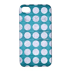 Circles1 White Marble & Teal Brushed Metal Apple Iphone 4/4s Hardshell Case With Stand by trendistuff