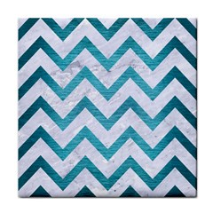 Chevron9 White Marble & Teal Brushed Metal (r) Tile Coasters