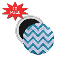Chevron9 White Marble & Teal Brushed Metal (r) 1 75  Magnets (10 Pack)  by trendistuff