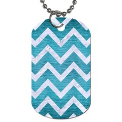 Chevron9 White Marble & Teal Brushed Metal Dog Tag (two Sides) by trendistuff