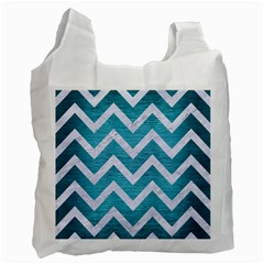 Chevron9 White Marble & Teal Brushed Metal Recycle Bag (two Side)  by trendistuff